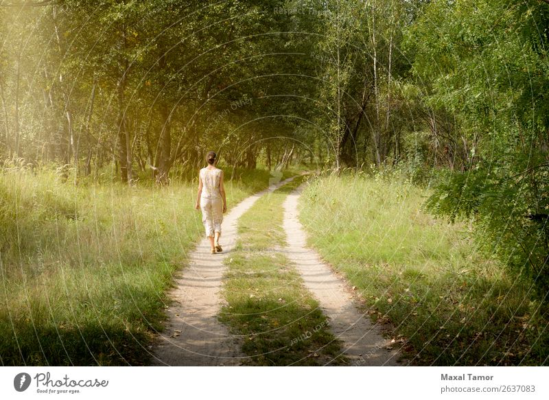 Adult woman is walking in the forest Woman Human being Vacation & Travel Nature Summer Beautiful Green Landscape Sun Tree Leaf Joy Forest Street Lifestyle