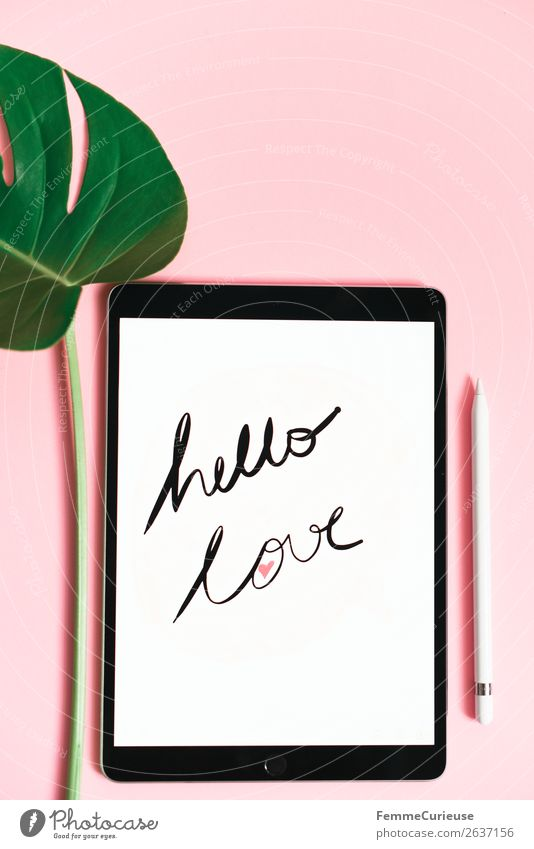 "Tablet with a handwritten ""hello love"" on pink background Lifestyle Technology Entertainment electronics Advancement Future Creativity Tablet computer Monstera"