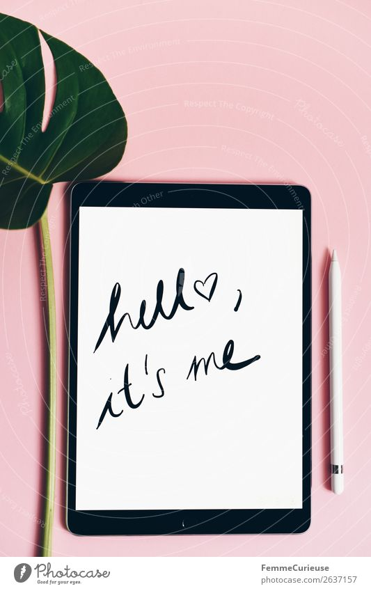 "Tablet with a handwritten ""hello it's me"" on pink background Technology Entertainment electronics Advancement Future Communicate Hello Logo Word"