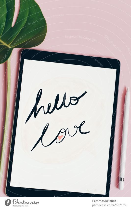 "Tablet with a handwritten ""hello love"" on pink background Technology Entertainment electronics Advancement Future Internet Communicate Design"