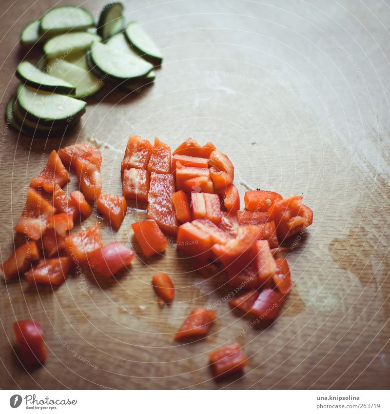 Healthy Natural Food Fresh Nutrition Vegetable Part Organic produce Cut Vegetarian diet Pepper Detail Depth of field Zucchini Pepper cubes