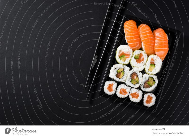 Japanese food: maki and nigiri sushi set Sushi Food Healthy Eating Food photograph Rice Fish Salmon Seafood Roll Meal Plate Gourmet Asia Raw Seaweed Dinner