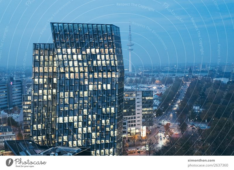 Town Architecture Business Work and employment Office High-rise Energy industry Telecommunications Success Hamburg Construction site Skyline Logistics Downtown