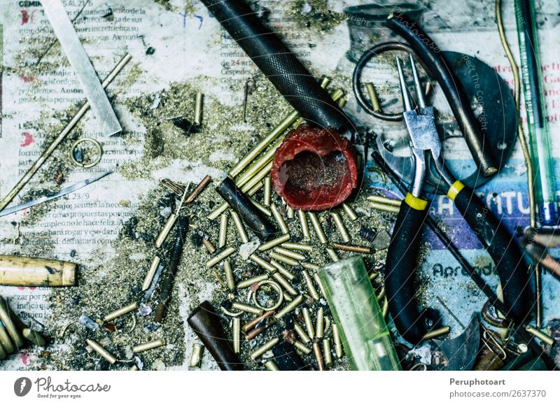 Top view of different goldsmiths tools on the jewelry workplace. Table Work and employment Profession Workplace Industry Craft (trade) Tool Hammer Hand Art Rock