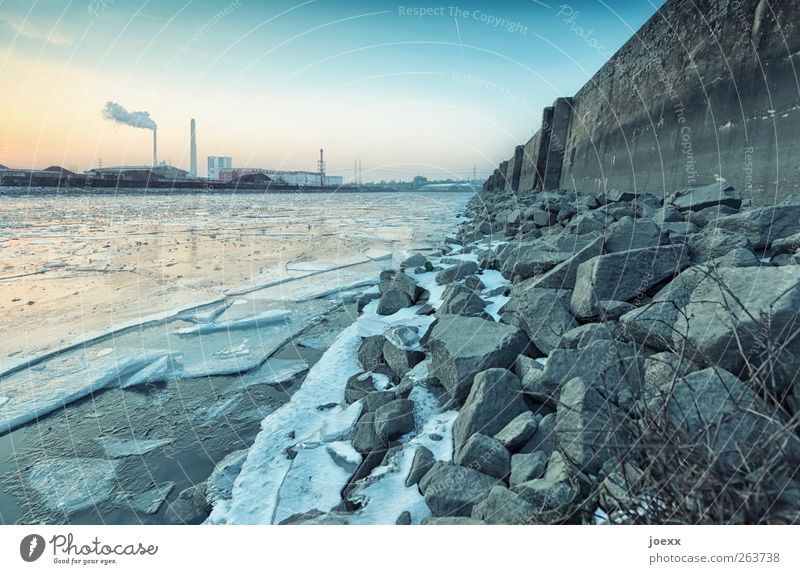 icebreaker Water Sky Beautiful weather River bank Industrial plant Stone Old Cold Jetty quay wall Ice sheet Colour photo Exterior shot Deserted Evening Twilight