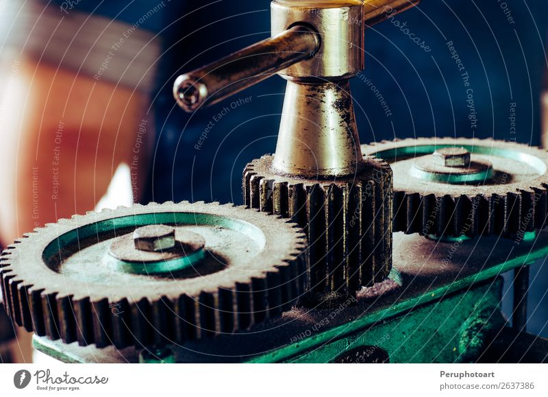 Big cogwheels in jewellery workshop machine. Work and employment Factory Industry Engines Technology Teeth Group Metal Steel Glittering Together Large Retro