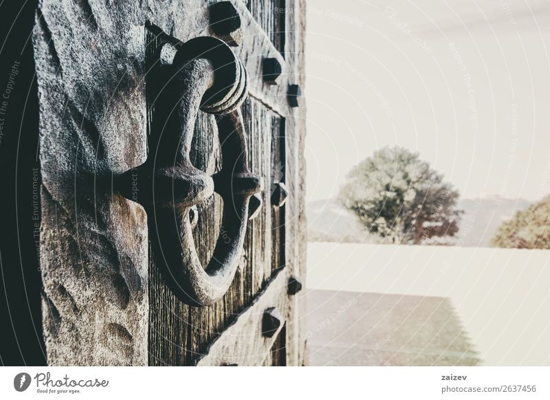 Close-up of a forging knob of an old wooden door with perspective Design House (Residential Structure) Places Building Architecture Ring Wood Metal Rust Old