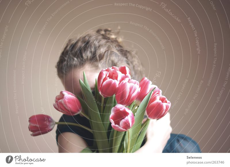 Spring in your arms Human being Feminine 1 Environment Nature Flower Tulip Leaf Blossom Hair and hairstyles Curl Blossoming Embrace Natural Colour photo