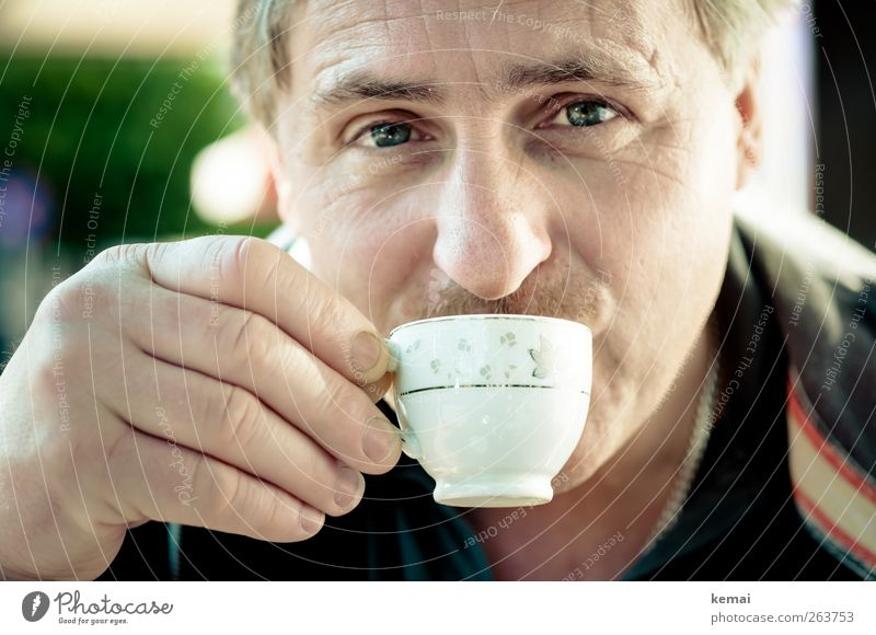 Melitta man Beverage Drinking Hot drink Coffee Mocha Cup Lifestyle Contentment Fragrance Human being Masculine Man Adults Head Face Eyes Nose Hand Fingers 1
