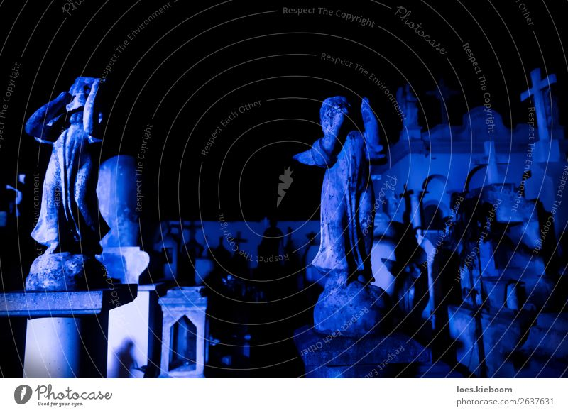 Two Angel statues at blue lightened tombstones during dawn Hallowe'en Tourist Attraction Creepy Gloomy Blue Death Pain Religion and faith graveyard Mérida