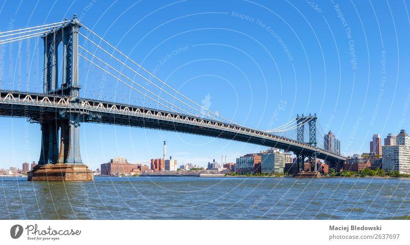 Panoramic view of the Manhattan Bridge, NYC. Sky Cloudless sky River Town Skyline Architecture Tourist Attraction Landmark Horizon Target New York City panorama