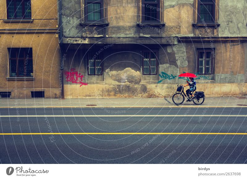 street hui - facade pfui Lifestyle Feminine Woman Adults 1 Human being 45 - 60 years Old town House (Residential Structure) Facade Street Bicycle Umbrella Line