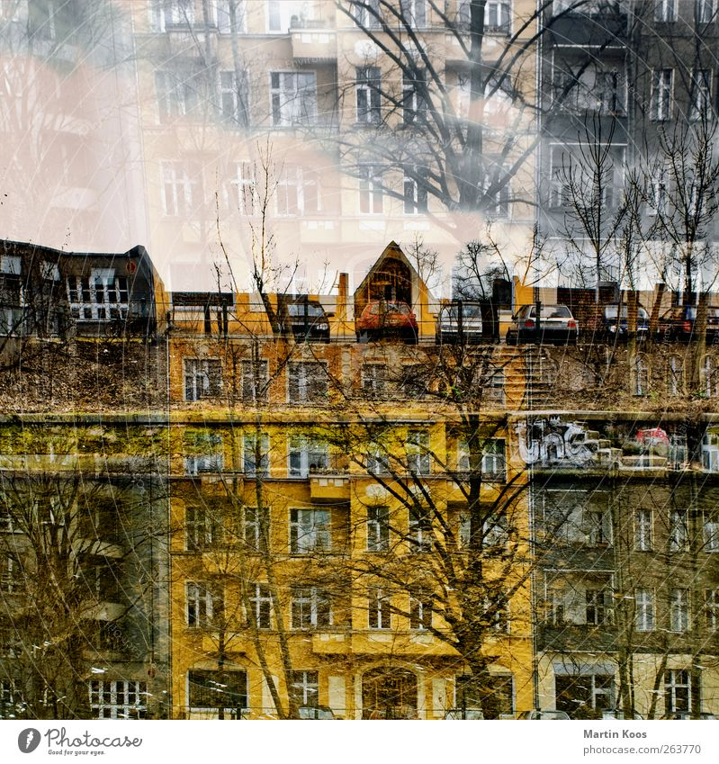 double house House (Residential Structure) Building Facade Window Door Roof Car Exceptional Yellow Esthetic Chaos Old building Double exposure Colour photo