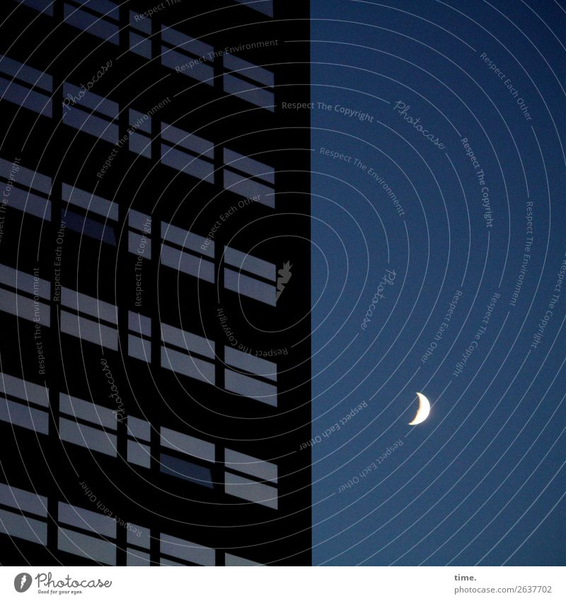 night watchman Sky Moon High-rise Manmade structures Window Dark Serene Calm Life Wisdom Esthetic Peace Emotions Mysterious Horizon Inspiration Concentrate