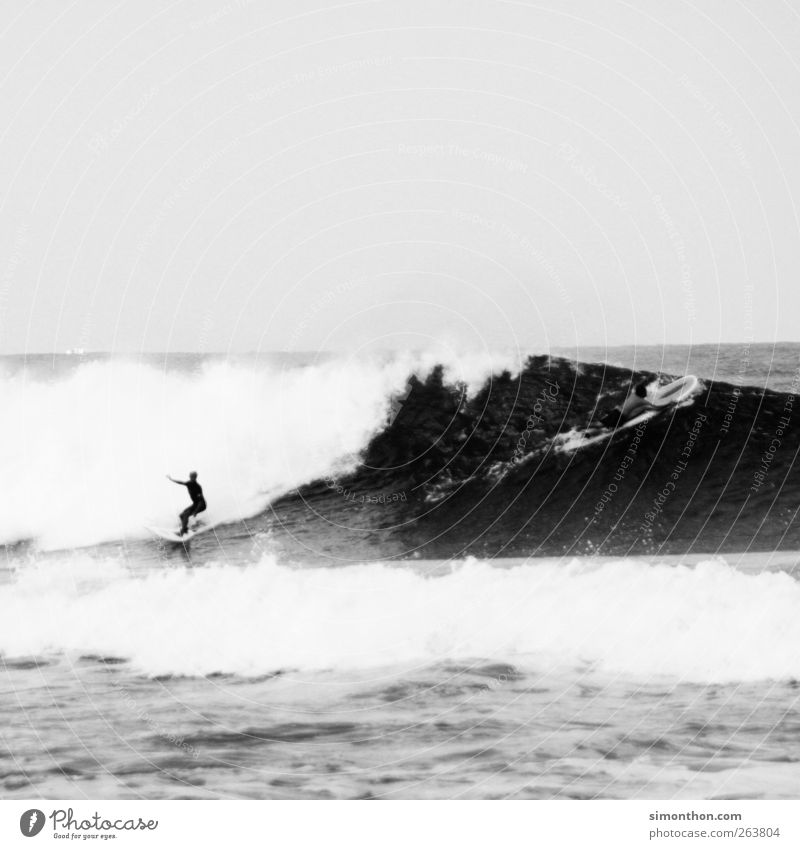 surfer 1 Human being Life Surfer Surfing Surfboard Surf school Ocean Sea water Waves Wind Vacation & Travel Sports Action Balance Water Black & white photo