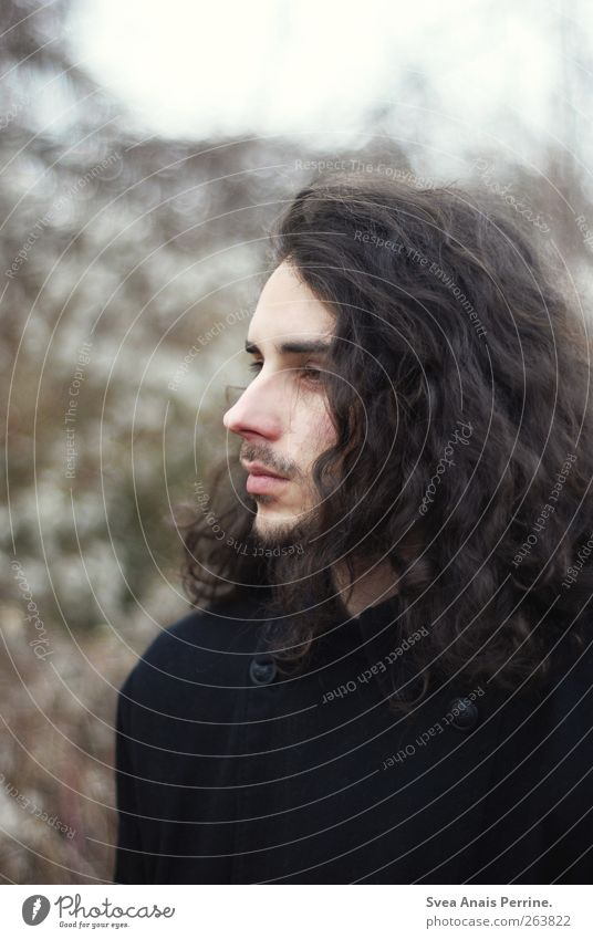 ... Masculine Young man Youth (Young adults) Hair and hairstyles Face 1 Human being 18 - 30 years Adults Autumn Brunette Long-haired Curl Natural Beautiful