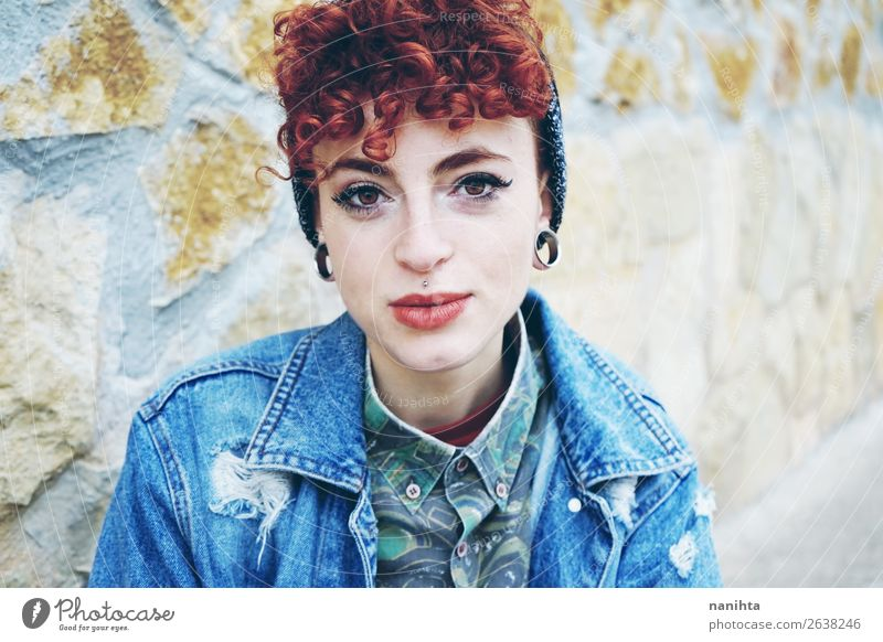 Beautiful and young redhead woman Lifestyle Style Hair and hairstyles Face Human being Feminine Androgynous Woman Adults Youth (Young adults) Youth culture