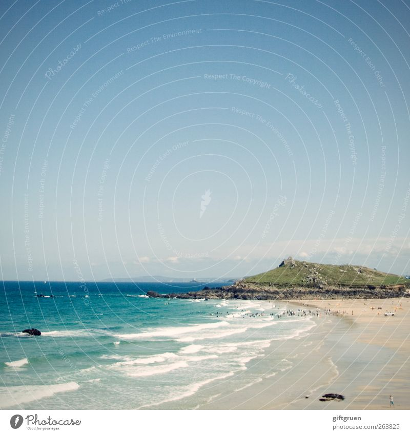 st. ives Environment Nature Landscape Elements Sand Water Sky Beautiful weather Hill Mountain Waves Coast Beach Ocean Island Blue Cornwall Great Britain England