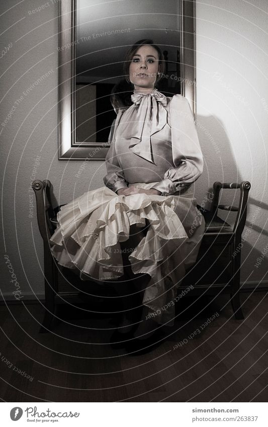 ReTro 1 Human being Exceptional Classic Classical art Retro Mirror Bench Dress Skirt Lady Silk Style Woman Aristocracy Castle Princess Colour photo
