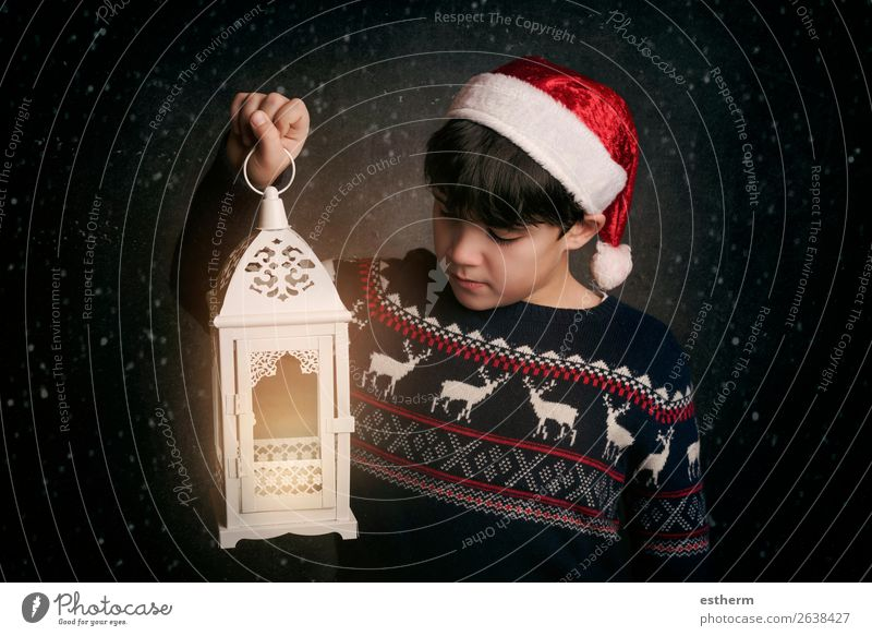 Happy child on Christmas eve Child Human being Christmas & Advent Joy Winter Lifestyle Emotions Movement Feasts & Celebrations Boy (child) Think Masculine