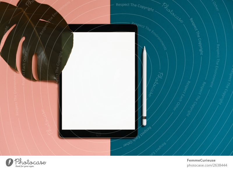 Tablet on salmon-colored and turquoise background Technology Entertainment electronics Advancement Future Stationery Paper Esthetic Tablet computer