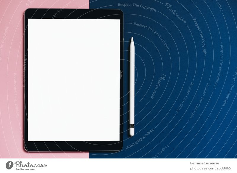 Tablet on pink and blue background Lifestyle Style Technology Entertainment electronics Advancement Future Stationery Paper Communicate Creativity