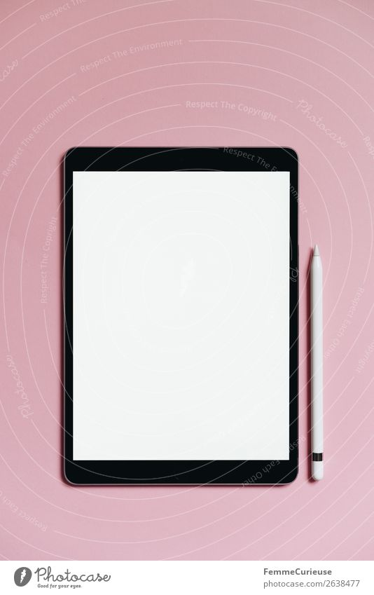 Tablet on pink background Technology Entertainment electronics Advancement Future Stationery Paper Communicate Creativity Tablet computer Pink White Empty