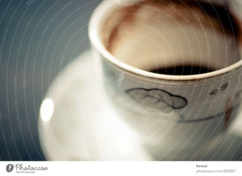 Mocha has gone Beverage Hot drink Coffee Crockery Cup Saucer White Empty Coffee grounds Decoration Ornate Colour photo Exterior shot Close-up Detail