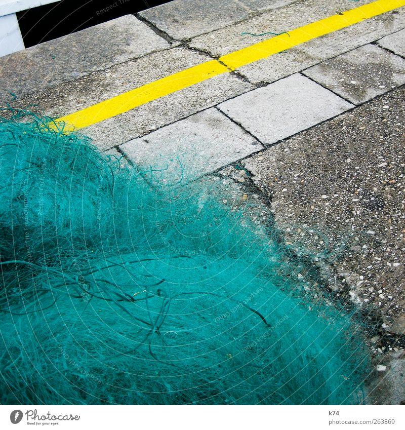 fishing net Harbour Stone Concrete Lie Yellow Green Fishery Fishing net Marker line Asphalt Crack & Rip & Tear Colour photo Multicoloured Exterior shot Deserted
