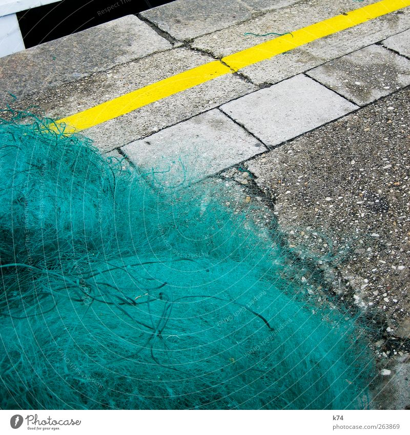 Green Yellow Stone Concrete Lie Asphalt Harbour Turquoise Crack & Rip & Tear Fishery Fishing net Marker line