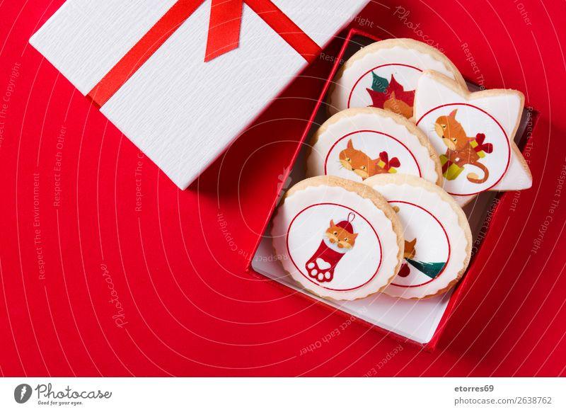 Christmas butter cookies decorated with Christmas graphics Cat Healthy Eating Christmas & Advent Food photograph Joy Winter Party Decoration Gift Seasons
