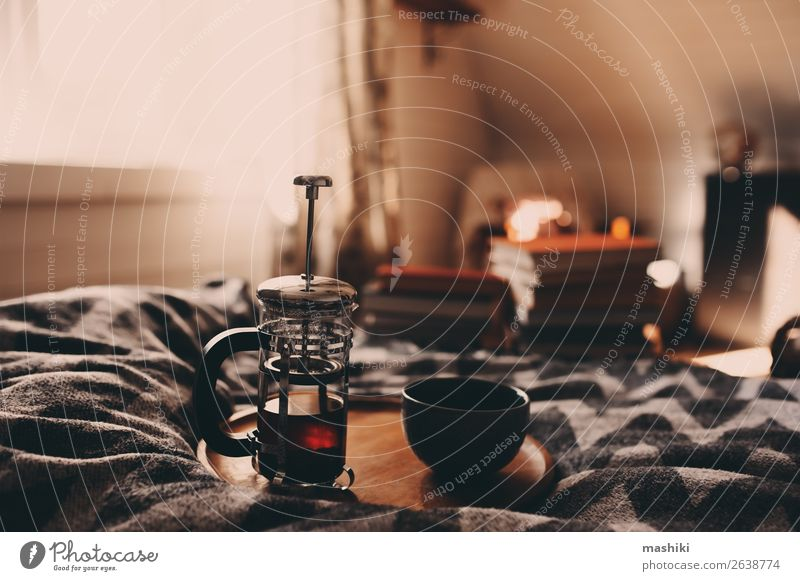 cozy winter morning with cup of hot tea. House (Residential Structure) Relaxation Winter Lifestyle Autumn Authentic Book Breakfast Hot Hut Home Still Life Tea