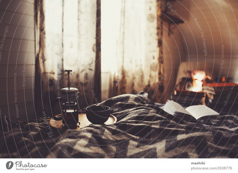 cozy winter morning with cup of hot tea. Breakfast Tea Lifestyle Relaxation Reading Winter House (Residential Structure) Decoration Book Autumn Hut Authentic