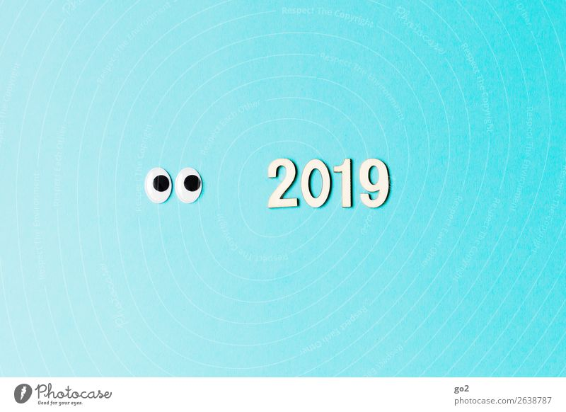 Curious about 2019 Handicraft Feasts & Celebrations New Year's Eve Birthday Eyes Decoration Digits and numbers Happiness Curiosity Blue Joy Anticipation