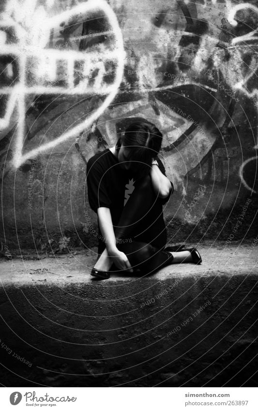 pose 1 Human being Whimsical Ballet Dance Posture Distend Graffiti Bridge Underpass Sadness Grief Youth (Young adults) Model Black & white photo