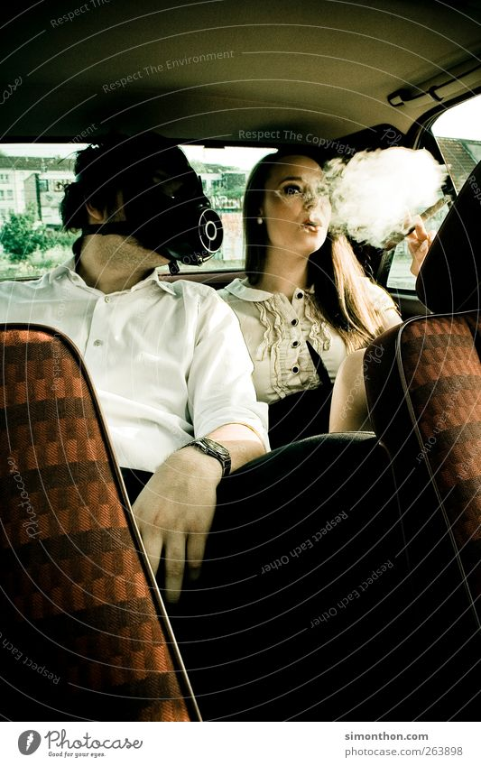 gas mask 2 Human being Joy Respirator mask Tobacco products Smoking Smoky No smoking Car Smoke Disgust Unhealthy Colour photo
