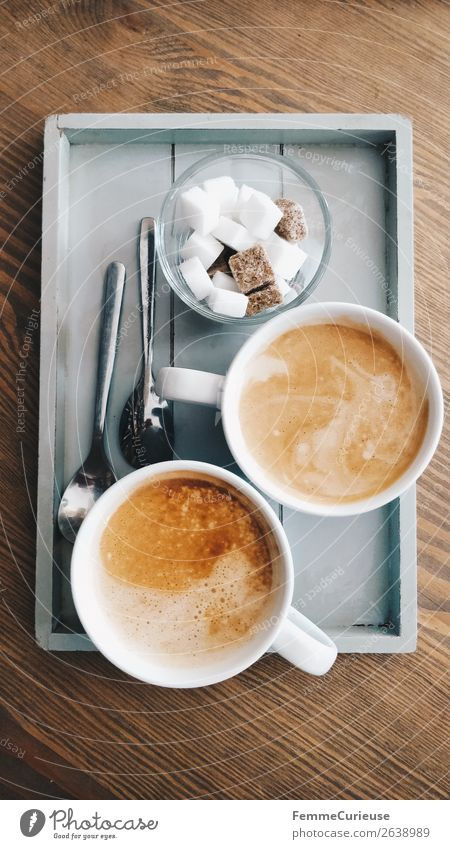 Two delicious cups of coffee on a small wooden tray Food Beverage Hot drink Coffee To enjoy To have a coffee Coffee cup Breakfast Sugar Lump sugar Tray Spoon