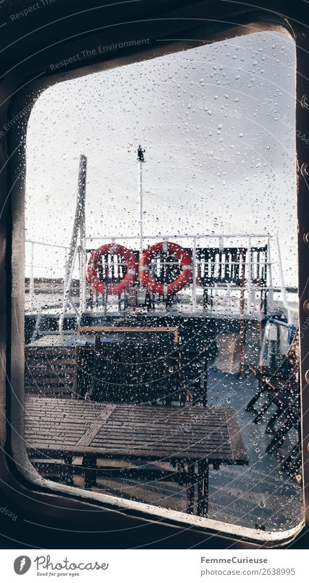 View from the inside of a boat to window with raindrops Transport Means of transport Traffic infrastructure Passenger traffic Public transit Navigation