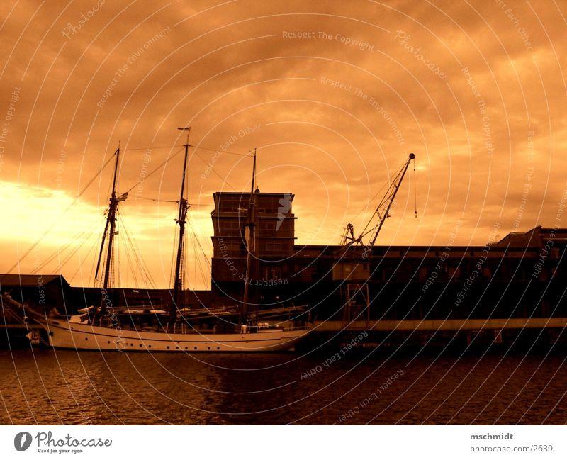 media docks lübeck Lübeck Watercraft Crane Harbour Sepia