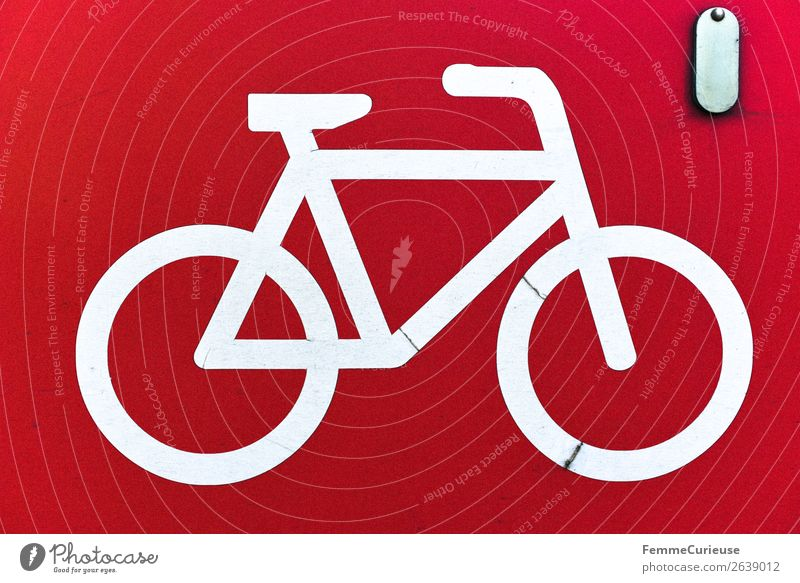 White bicycle symbol on red background Sign Signs and labeling Signage Warning sign Movement Bicycle Cycling Cycling tour Symbols and metaphors Clue Red