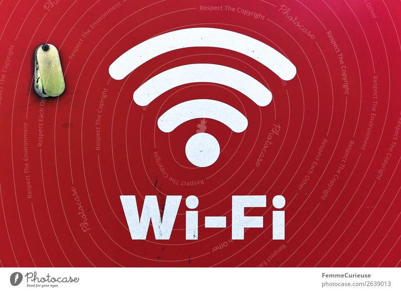 White Wi-Fi sign on red background Sign Characters Signs and labeling Signage Warning sign Communicate Internet Computer network Connection Joinery technique
