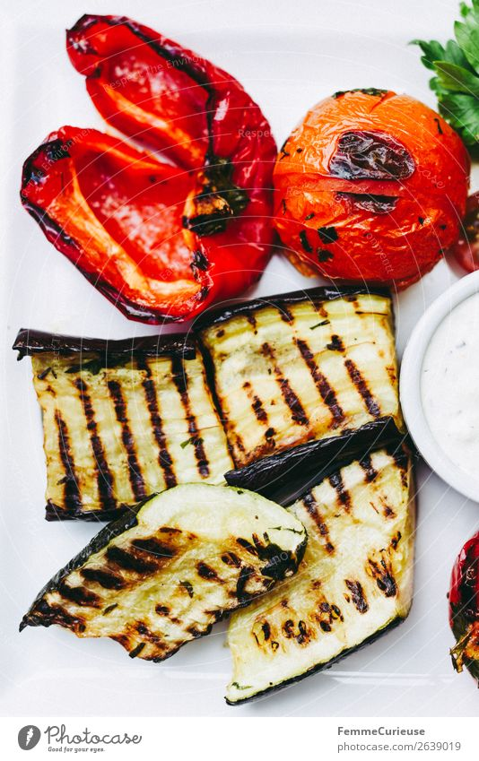 Delicious grilled vegetables on a white plate Food Nutrition Lunch Organic produce Vegetarian diet To enjoy Zucchini Tomato Pepper Vegetable BBQ Plate White