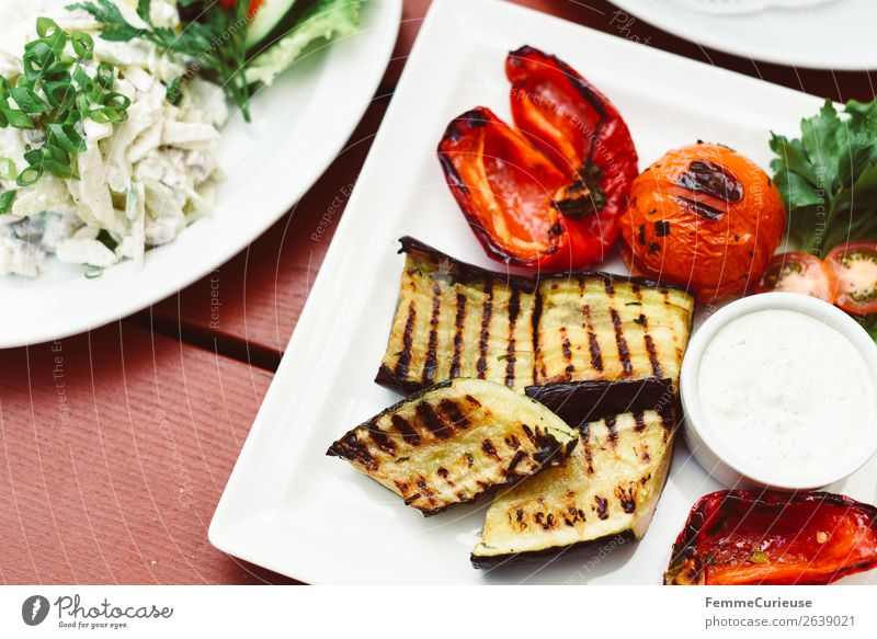 Delicious grilled vegetables on a white plate Food Nutrition Lunch Buffet Brunch Organic produce Vegetarian diet Diet To enjoy Vegetable Zucchini Pepper Tomato