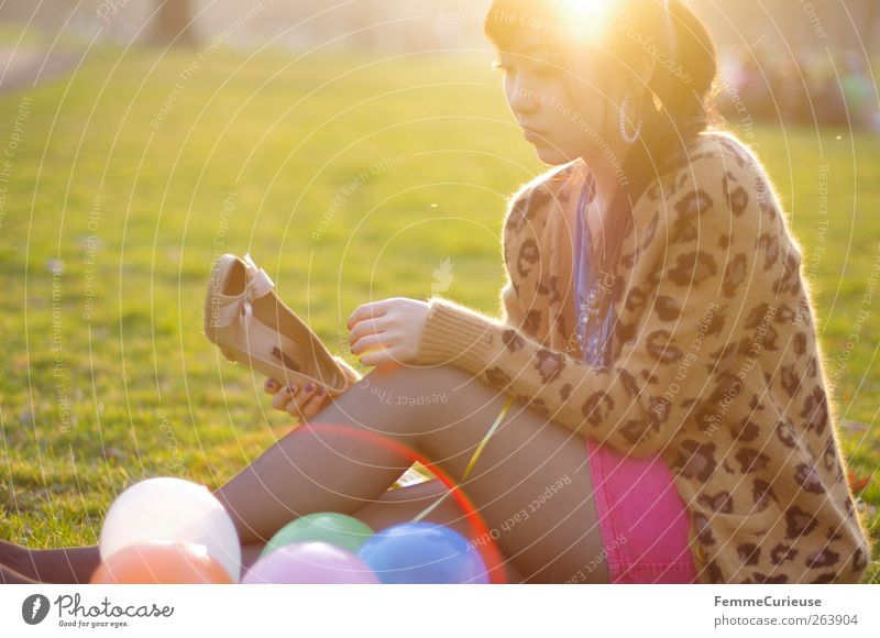 Spring Spring Spring II Young woman Youth (Young adults) Woman Adults Legs 1 Human being Relaxation Park BBQ season Spring fever Footwear Balloon Meadow Sit