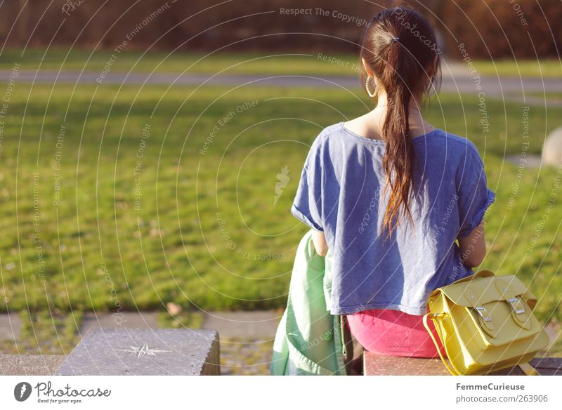 Jumping Spring IV Young woman Youth (Young adults) Woman Adults Back 1 Human being 13 - 18 years Child 18 - 30 years Relaxation Bag Yellow Coat Green Blue Pink