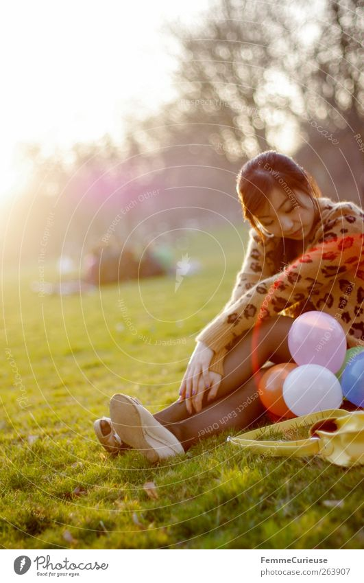 Human being Woman Youth (Young adults) Adults Relaxation Meadow Spring Young woman Group Think Legs Friendship Park 18 - 30 years Arm Birthday