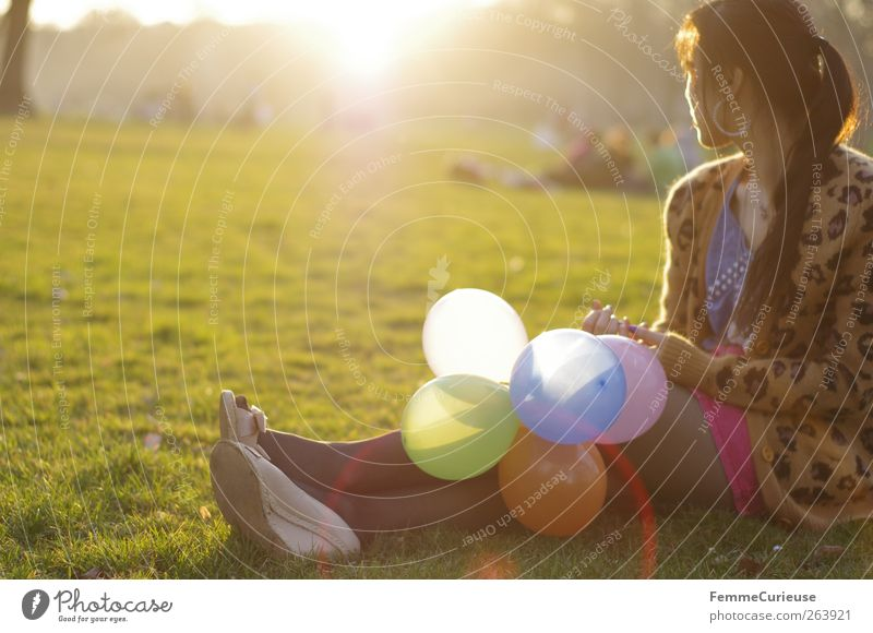 Human being Woman Youth (Young adults) Beautiful Joy Adults Relaxation Meadow Life Warmth Young woman Freedom Group Legs Friendship Park