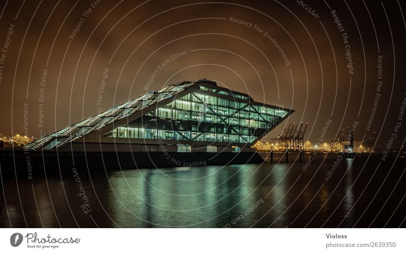 Dockland VII Port City Harbour Manmade structures Building Architecture Stairs Terrace Tourist Attraction Landmark Esthetic Exceptional Dark Whimsical Night