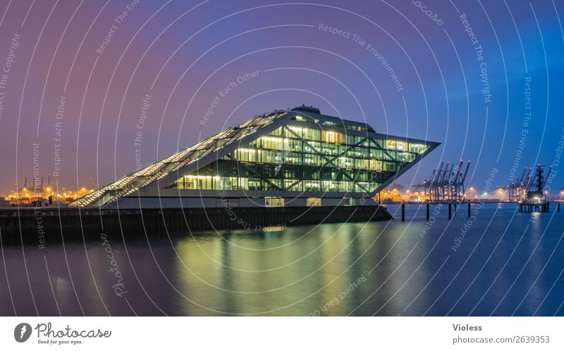 Dockland III Port City Harbour Manmade structures Building Architecture Stairs Terrace Tourist Attraction Landmark Esthetic Exceptional Dark Whimsical Night
