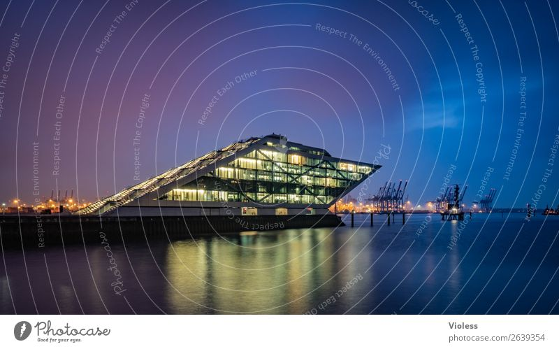 Dockland VIII Port City Harbour Manmade structures Building Architecture Stairs Terrace Tourist Attraction Landmark Esthetic Exceptional Dark Whimsical Night